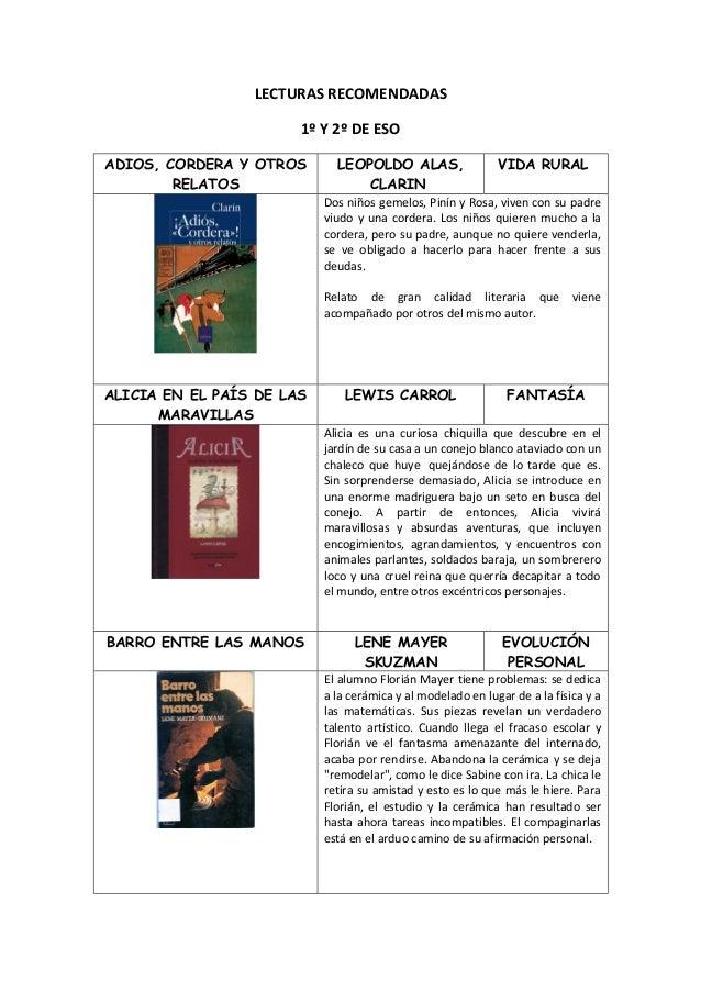 LECTURAS RECOMENDADAS                       1º Y 2º DE ESOADIOS, CORDERA Y OTROS       LEOPOLDO ALAS,                  VID...