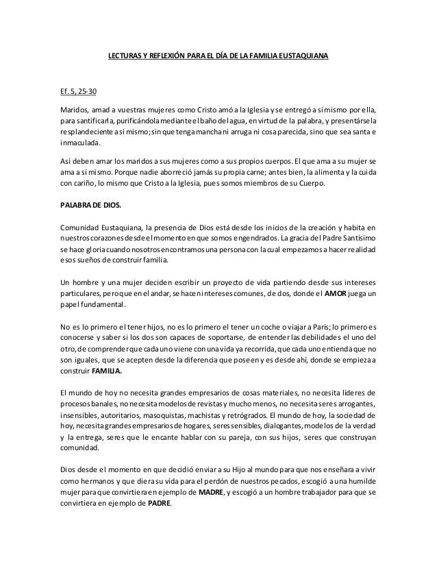 Lecturas y reflexión para el día de la familia eustaquiana