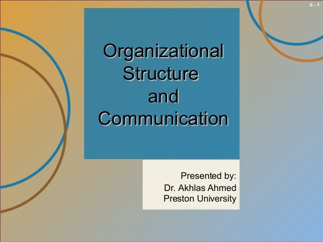 6-1  Organizational Structure and Communication Presented by: Dr. Akhlas Ahmed Preston University