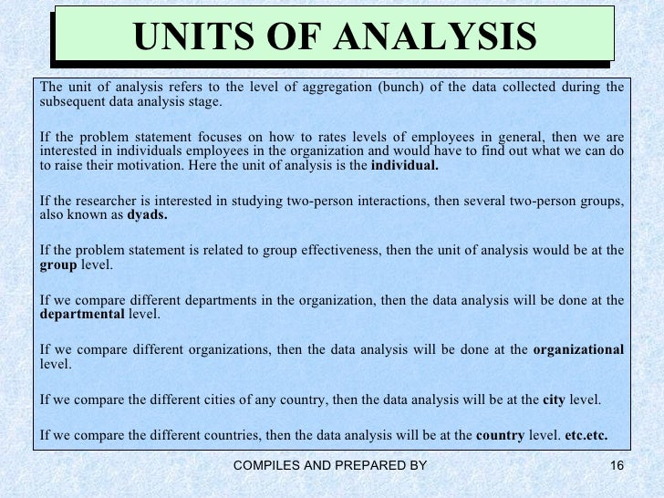 unit of analysis and sampling strategy Sampling and units of analysis  sampling and units of analysis basic considerations when and why to sample when not to sample two content analysis strategies get started with a test.