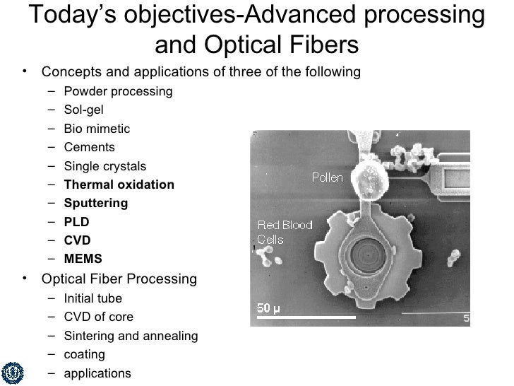 Today's objectives-Advanced processing and Optical Fibers <ul><li>Concepts and applications of three of the following </li...