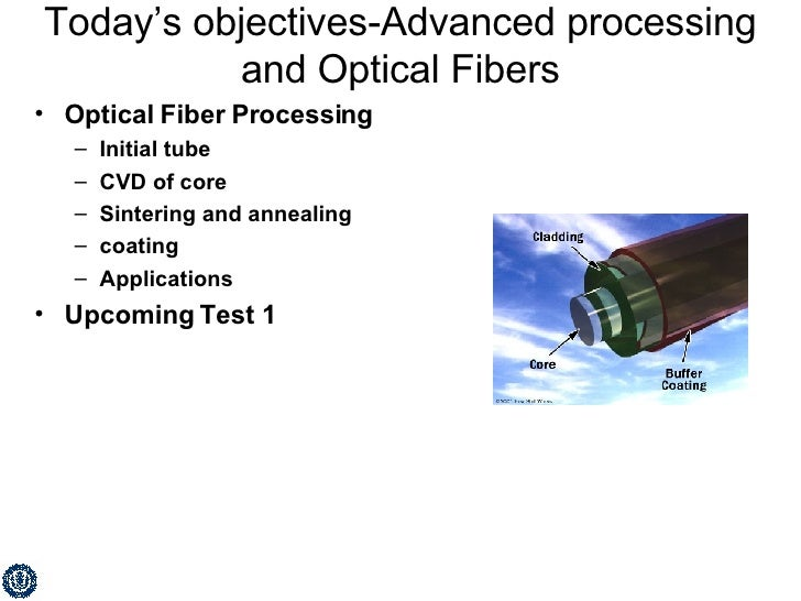 Today's objectives-Advanced processing and Optical Fibers <ul><li>Optical Fiber Processing </li></ul><ul><ul><li>Initial t...