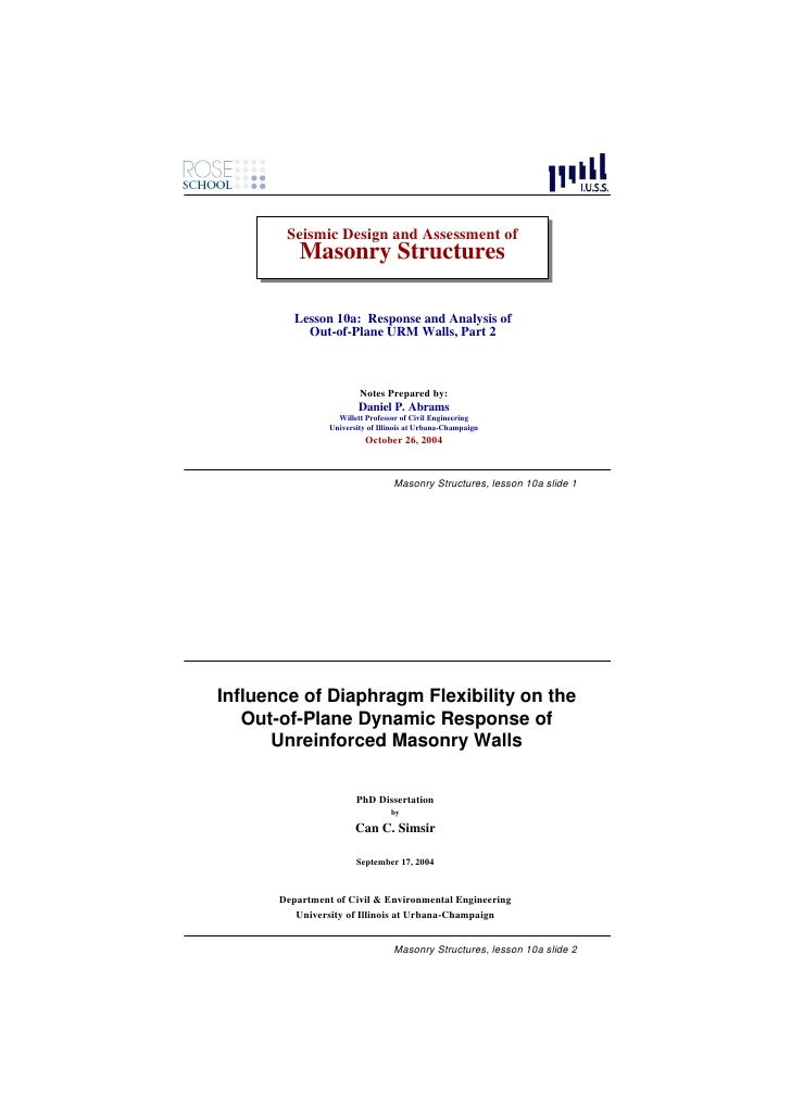 Seismic Design and Assessment of         Seismic Design and Assessment of            Masonry Structures            Masonry...