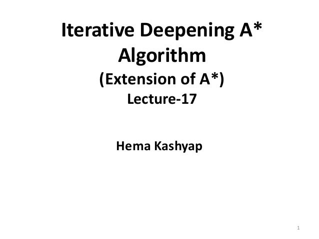 Iterative Deepening A* Algorithm (Extension of A*) Lecture-17 Hema Kashyap 1
