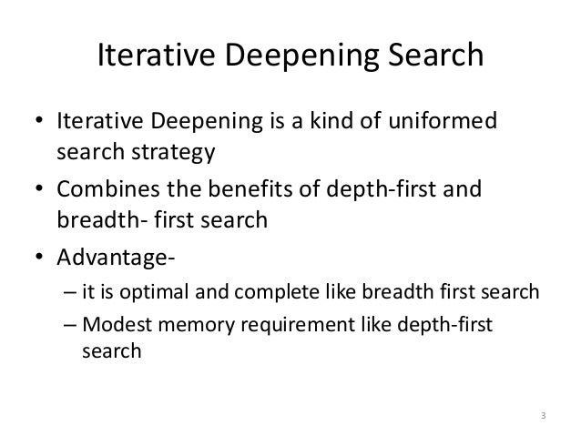 iterative deepening a star Introduction iterative deepening a (ida) is a graph traversal and path search algorithm that can find the shortest path between a designated start node and any.