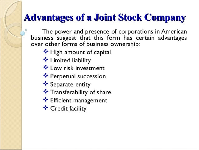 business scenario joint stock company A joint stock company is simply a business indian oil corporation ltd, tata motors ltd, reliance industries ltd and the state bank of india are four of the biggest joint stock companies of india.