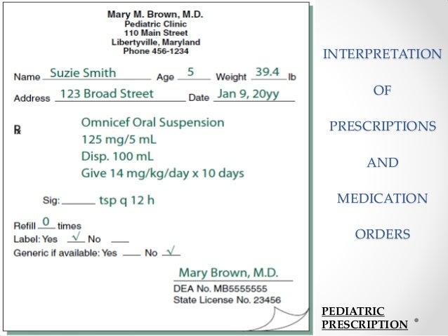INTERPRETATION OF PRESCRIPTIONS AND MEDICATION ORDERS PEDIATRIC PRESCRIPTION