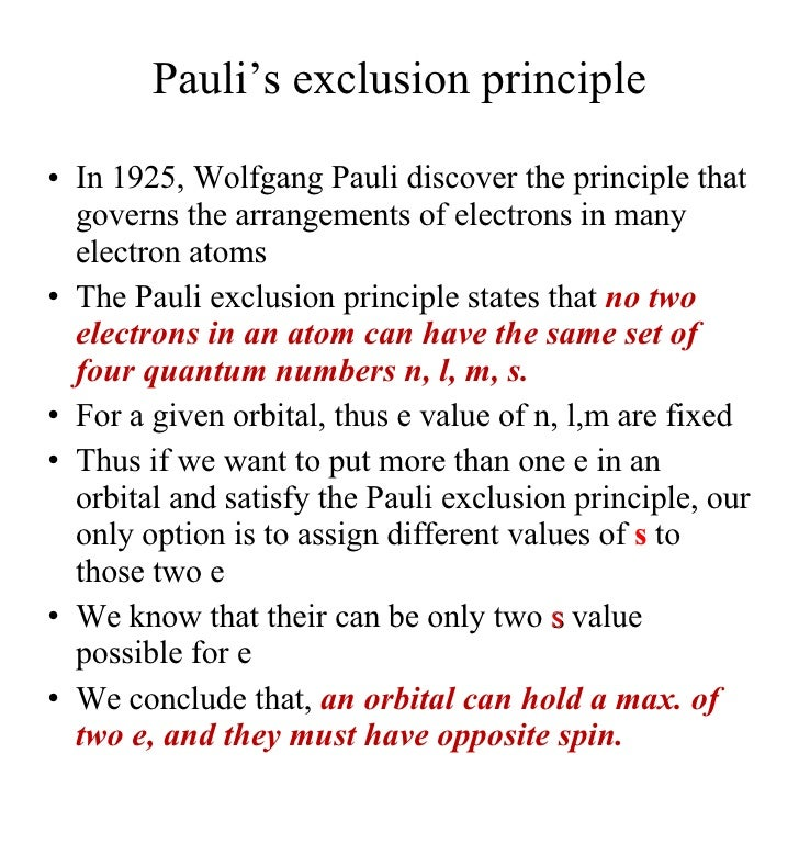 wolfgang pauli the exclusion principle The recent publication of the correspondence of wolfgang pauli and the papers  of niels  the key to the formulation of the exclusion principle, were frustrated by.