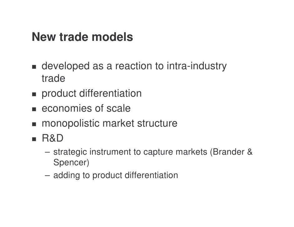 the brander krugman model The model of brander and krugman (1983) assumes cournot competi- tion  between firms (which means that each firm treats the other firms'.
