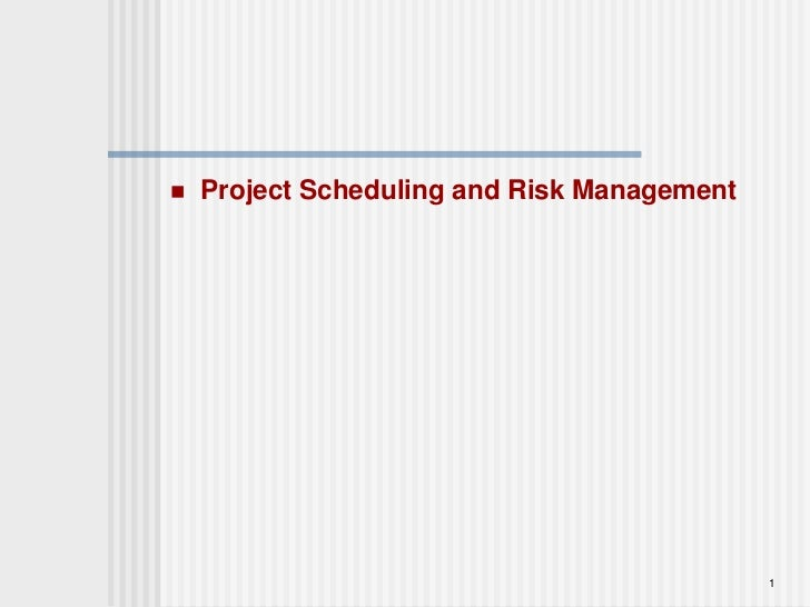 1<br />Project Scheduling and Risk Management <br />