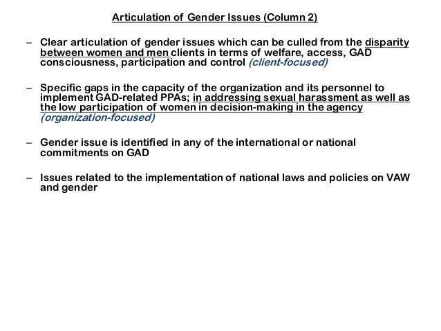 Articulation of Gender Issues (Column 2) – Clear articulation of gender issues which can be culled from the disparity betw...