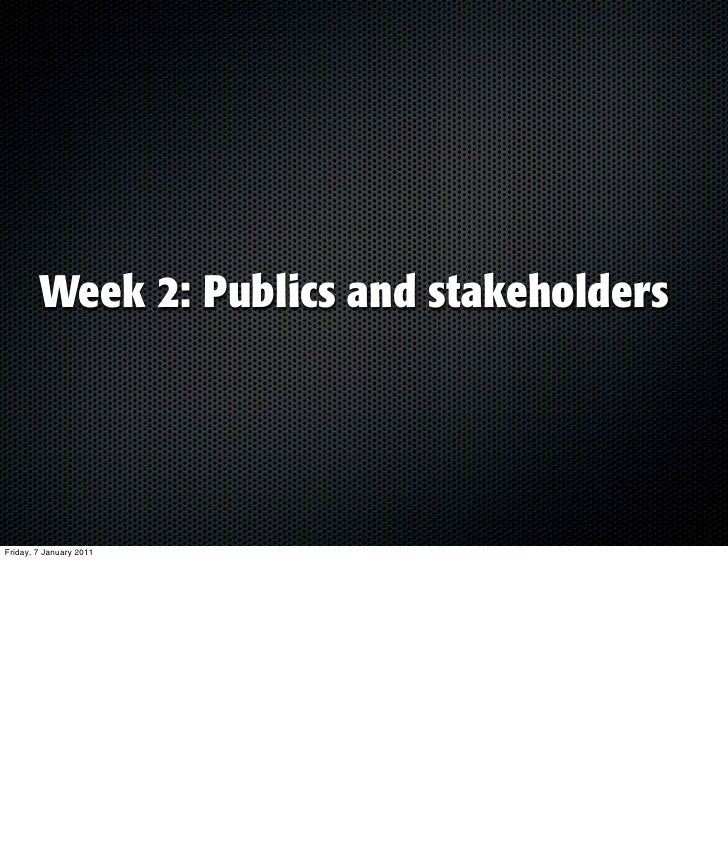 Lecture stakeholders & publics