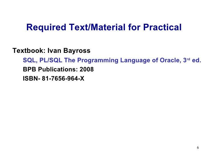 sql pl sql by ivan bayross pdf