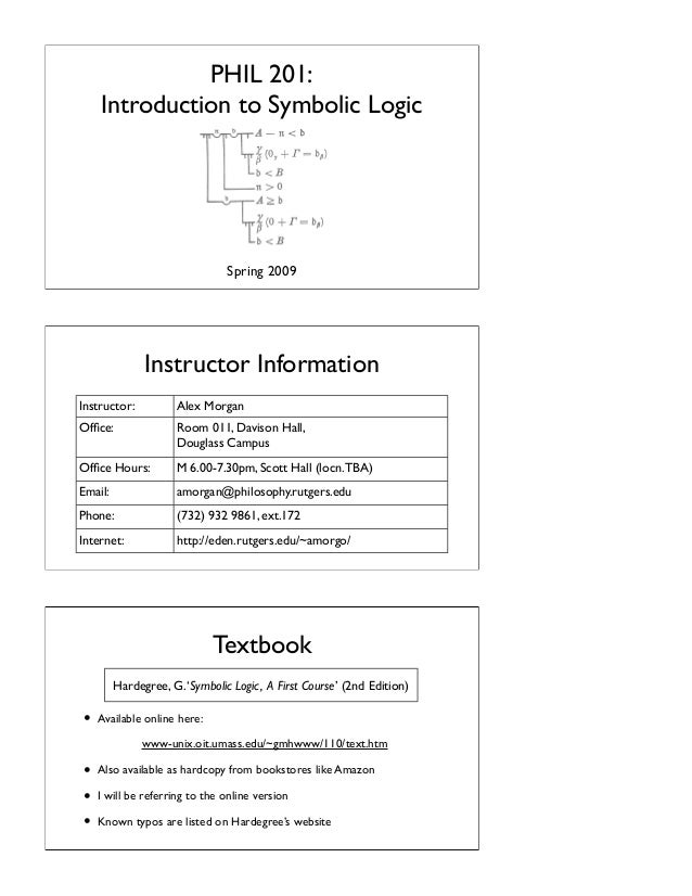 PHIL 201: Introduction to Symbolic Logic  Spring 2009  Instructor Information Instructor:  Alex Morgan  Office:  Room 011, ...