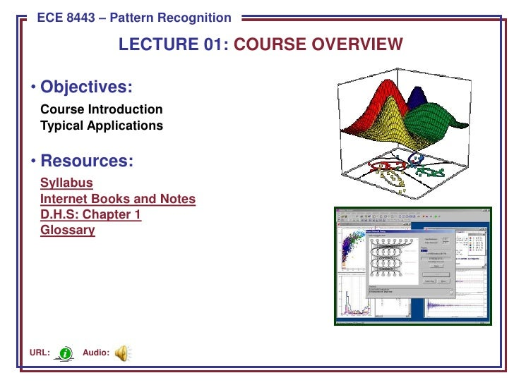 ECE 8443 – Pattern Recognition                   LECTURE 01: COURSE OVERVIEW  • Objectives:   Course Introduction   Typica...