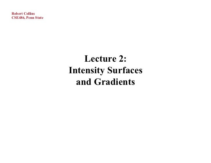 Robert CollinsCSE486, Penn State                         Lecture 2:                     Intensity Surfaces                ...