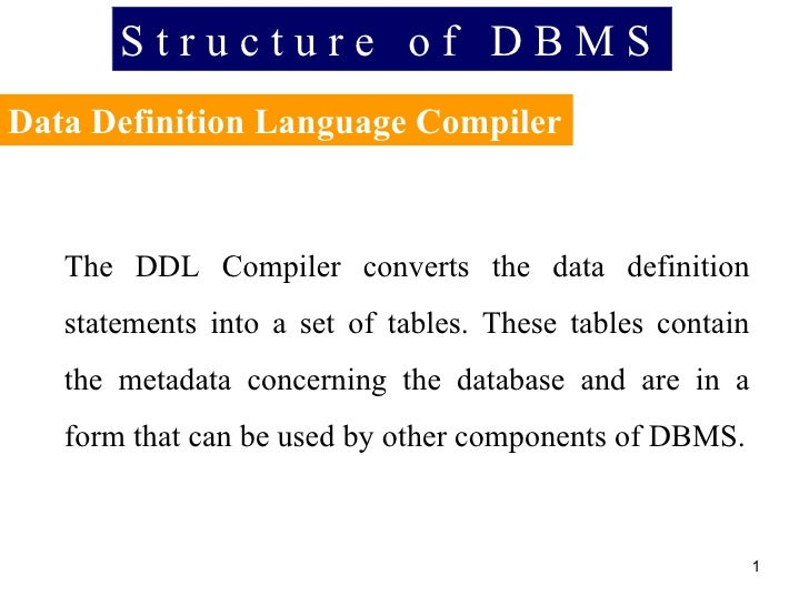 S t r u c t u r e  o f  D B M S Data Definition Language Compiler The DDL Compiler converts the data definition statements...