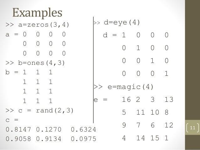 matlab how to create matrix