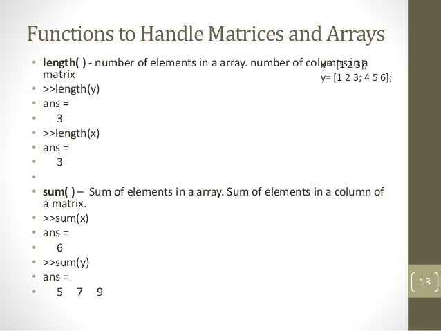 MATLAB - Arrays and Matrices