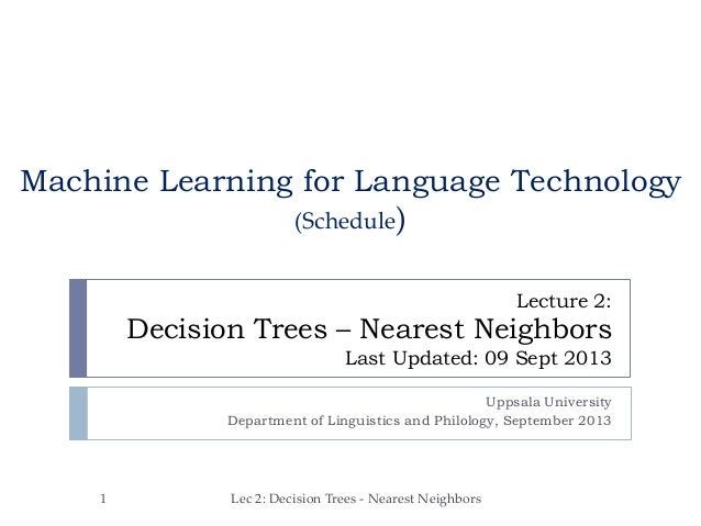 Lecture 2: Decision Trees – Nearest Neighbors Last Updated: 09 Sept 2013 Uppsala University Department of Linguistics and ...