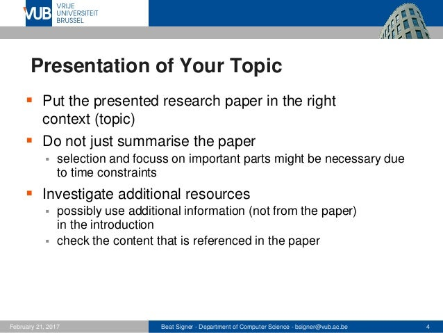 Tips for the Presentation - Lecture 2 - Advanced Topics in