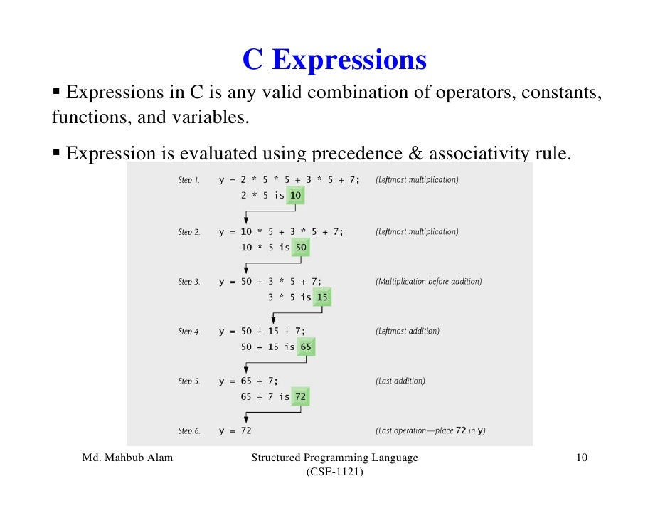 C Expressions  Expressions in C is any valid combination of operators, constants,functions, and variables. Expression is e...