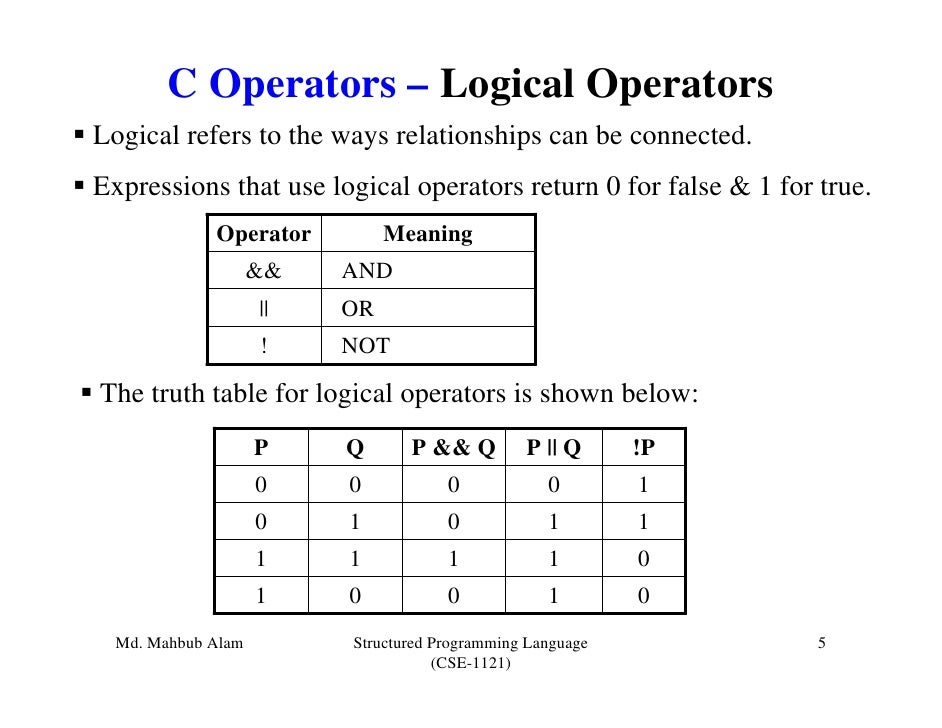 C Operators – Logical OperatorsLogical refers to the ways relationships can be connected.Expressions that use logical oper...