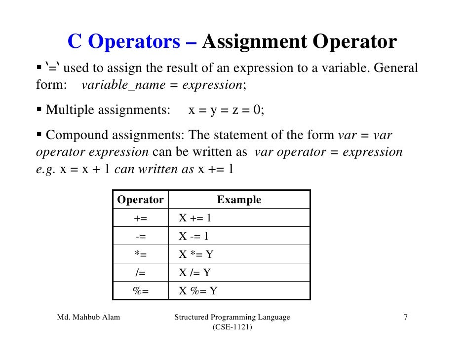 c assignment In the following code: int c while((c=10)0) what does c = 10 evaluate to is it 1 which indicates that the value 10 is assigned to variable c successfully, or is it 10.