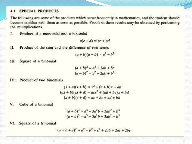 Lecture 03 special products and factoring