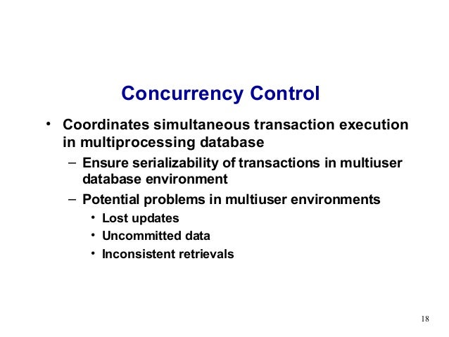 concurrency control in database systems Concurrency control for on-line transaction processing base management systems (dbmss) is a nasty game achieving in the dbms to read or write to the database.