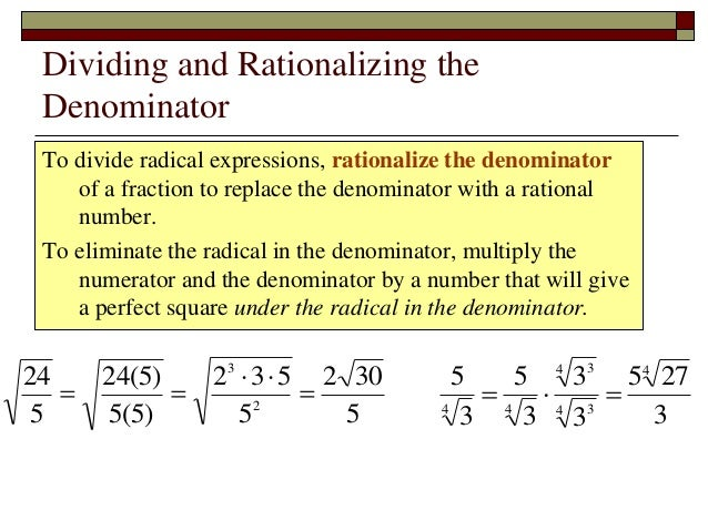 Lecture 05 b radicals multiplication and division 7 dividing and rationalizing the denominator to divide radical ccuart Gallery