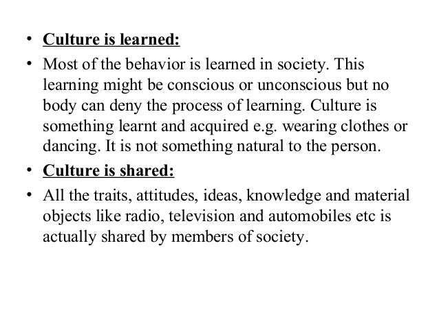 what is culture is learned