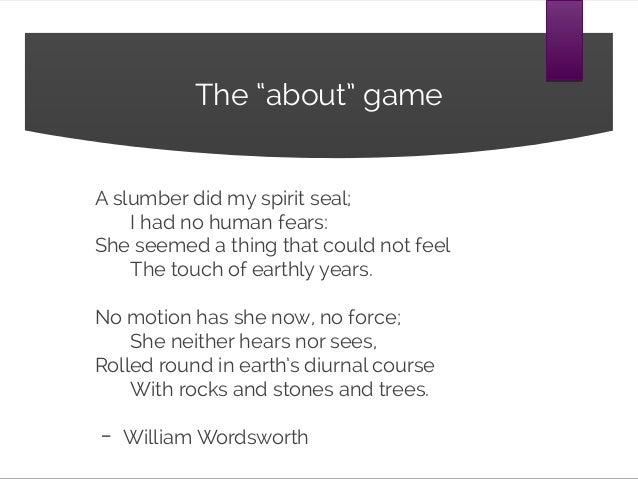 A Slumber did my Sprit Seal by William Wordsworth