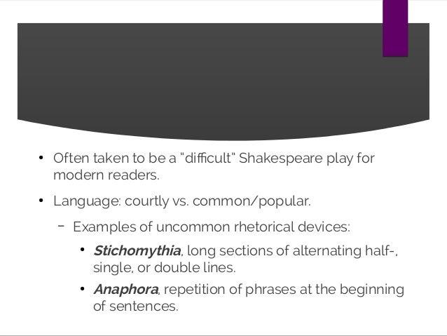 stichomythia of hamlet Stichomythia (greek: στιχομυθία) is a technique in verse drama in which sequences of single alternating lines, or half-lines (hemistichomythia) or two-line speeches (distichomythia) are.