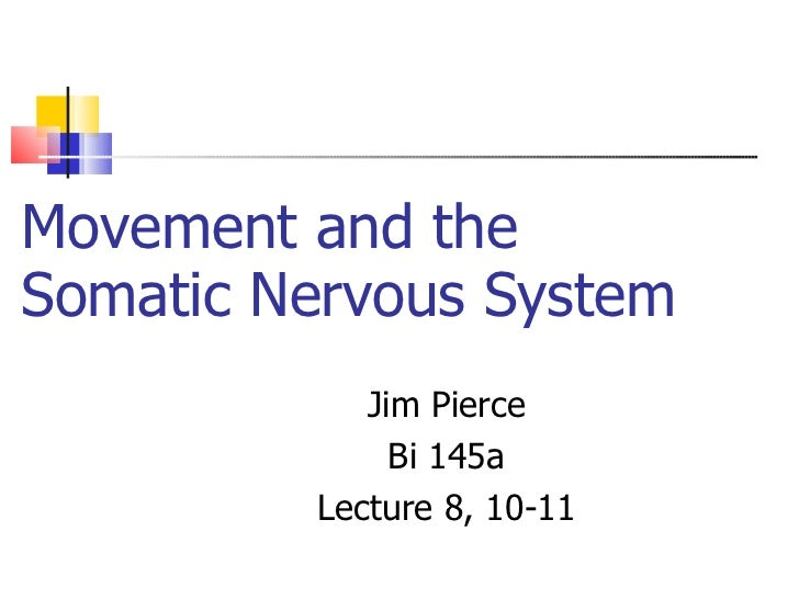 Movement and the Somatic Nervous System Jim Pierce Bi 145a Lecture 8, 10-11