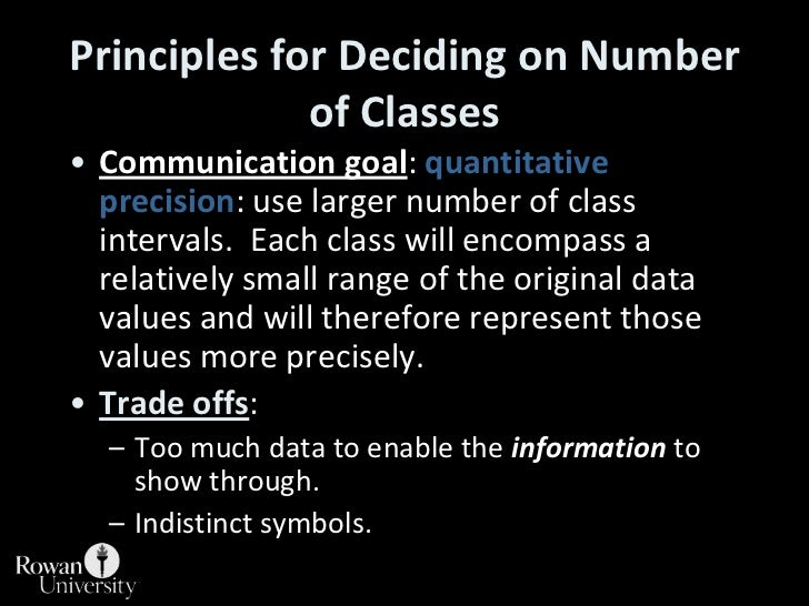 Principles for Deciding on Number of Classes<br />Communication goal: quantitative precision: use larger number of class i...