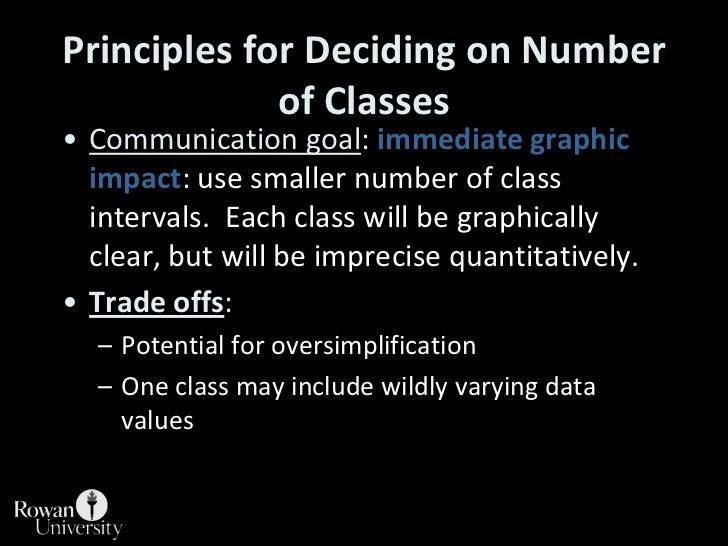 Principles for Deciding on Number of Classes<br />Communication goal: immediate graphic impact: use smaller number of clas...