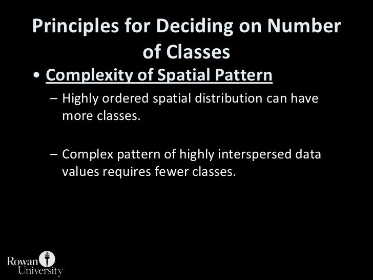 Principles for Deciding on Number of Classes<br />Complexity of Spatial Pattern<br />Highly ordered spatial distribution c...