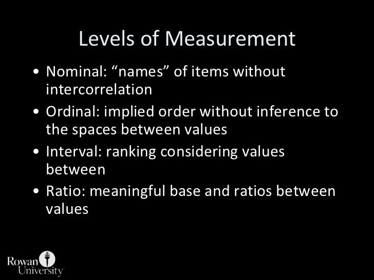 """Levels of Measurement<br />Nominal: """"names"""" of items without intercorrelation<br />Ordinal: implied order without inferenc..."""