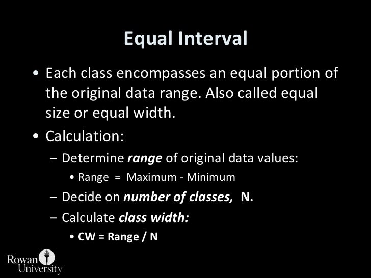 Equal Interval<br />Each class encompasses an equal portion of the original data range. Also called equal size or equal wi...