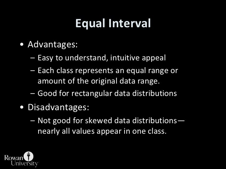 Advantages:<br />Easy to understand, intuitive appeal<br />Each class represents an equal range or amount of the original ...