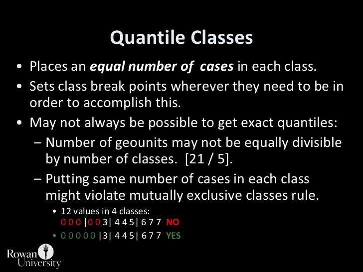 Quantile Classes<br />Places an equal number of  cases in each class.<br />Sets class break points wherever they need to b...