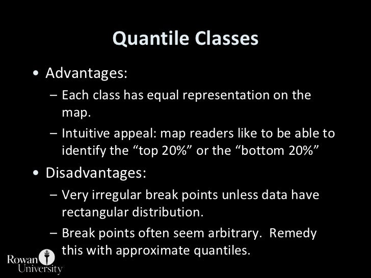 Quantile Classes<br />Advantages:<br />Each class has equal representation on the map.<br />Intuitive appeal: map readers ...