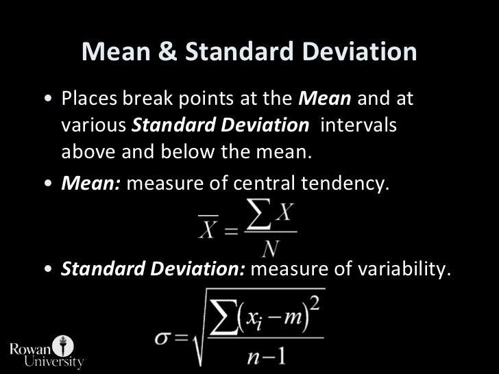 Mean & Standard Deviation<br />Places break points at the Mean and at various Standard Deviation  intervals above and belo...