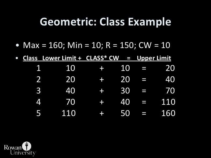 Geometric: Class Example<br />Max = 160; Min = 10; R = 150; CW = 10<br />Class   Lower Limit +   CLASS* CW     =    Upper ...