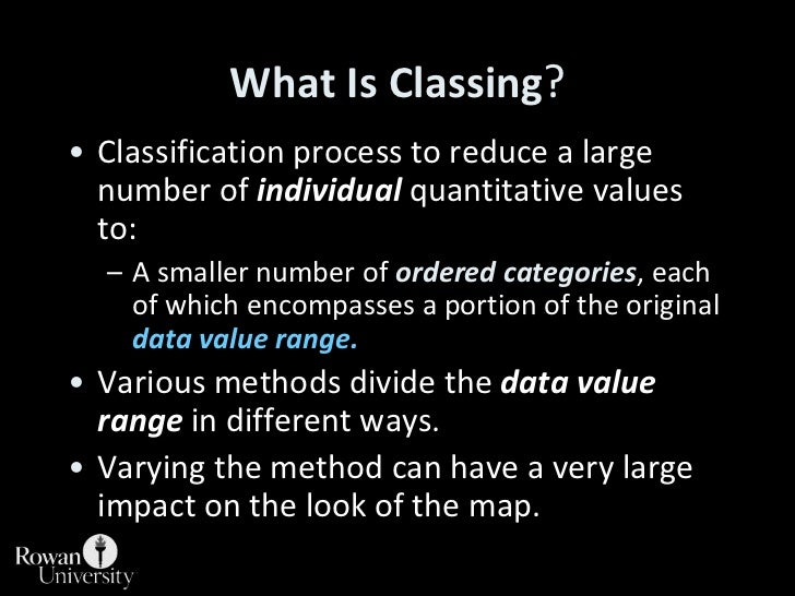 WhatIsClassing?<br />Classification process to reduce a large number of individual quantitative values to:<br />A smaller ...
