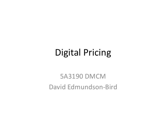 Digital Pricing 5A3190 DMCM David Edmundson-Bird