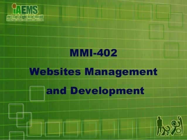MMI-402 Websites Management and Development