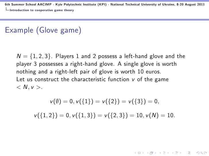 cooperative game theory thesis We perform a matrix analysis in the setting of cooperative game theory, to study axiomatizations of linear values, by investigating appropriate properties of these representation matrices particularly, the shapley value is the most important representative.