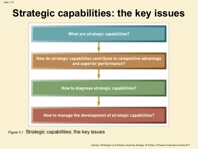 strategic capabilities and resources The activities and processes of the organization utilize certain assets these assets are - resources, competencies and distinctive capabilities.